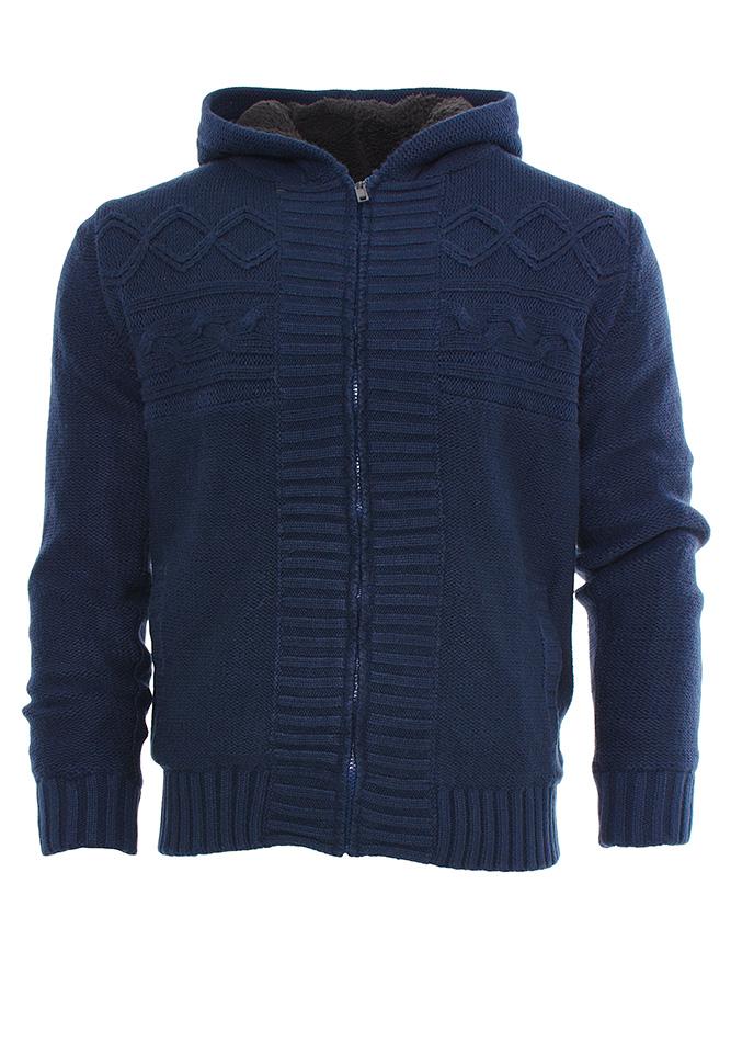 Πλεκτή Ζακέτα Traxx D.Blue με Γούνα αρχική ανδρικά ρούχα ζακέτες