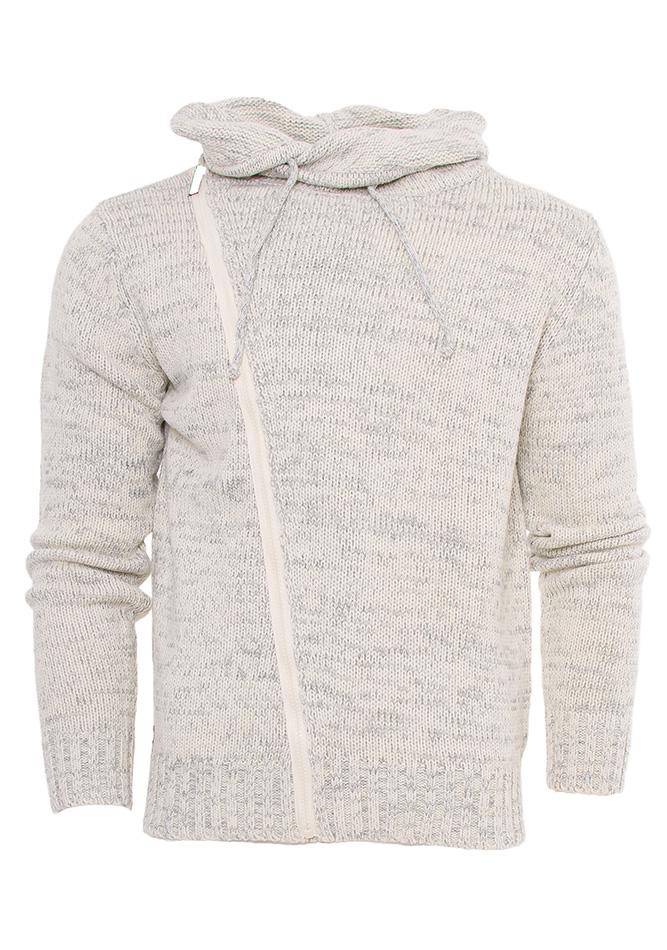 Ανδρική Πλεκτή Μπλούζα Ecru Zip αρχική ανδρικά ρούχα πλεκτά