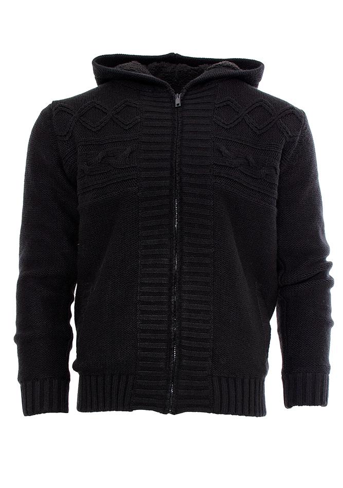 Πλεκτή Ζακέτα Traxx Black με Γούνα αρχική ανδρικά ρούχα ζακέτες