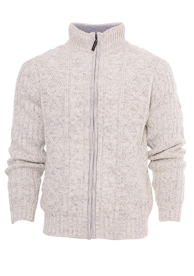 Πλεκτή Ζακέτα Traxx White με Γούνα αρχική ανδρικά ρούχα ζακέτες