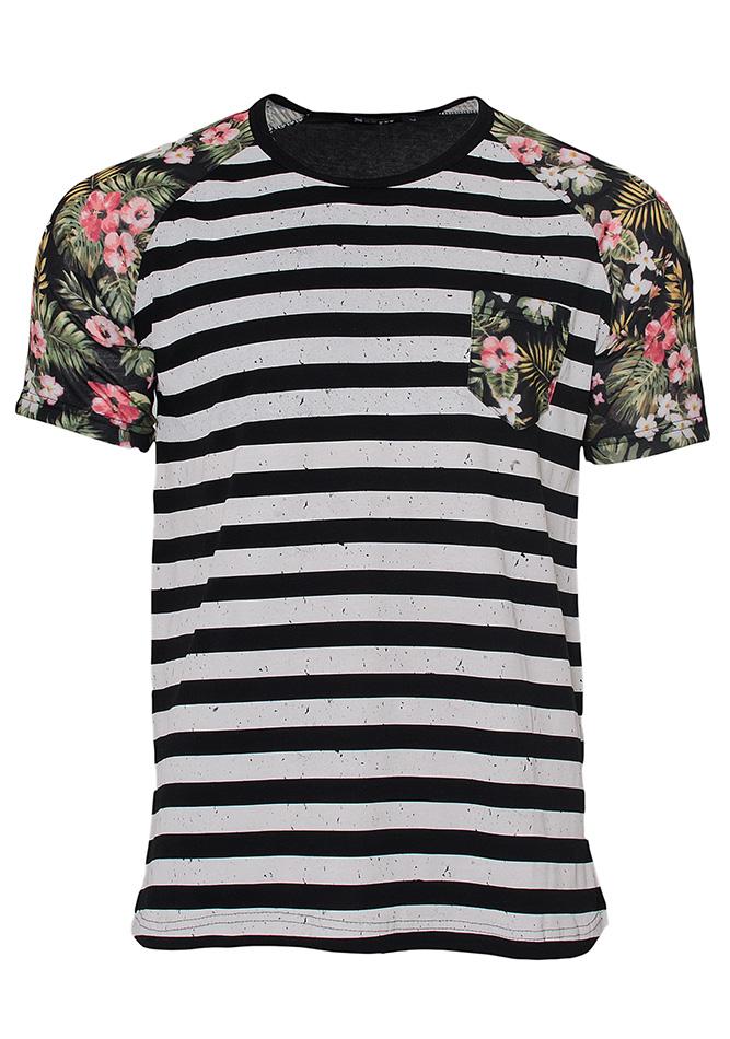 Ανδρικό T-shirt Stripes Fiore-Μαύρο αρχική ανδρικά ρούχα επιλογή ανά προϊόν t shirts