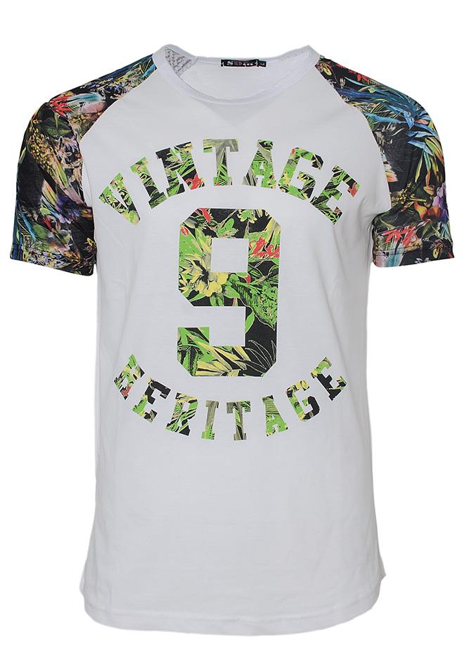 Ανδρικό T-shirt Vintage Flower-Άσπρο