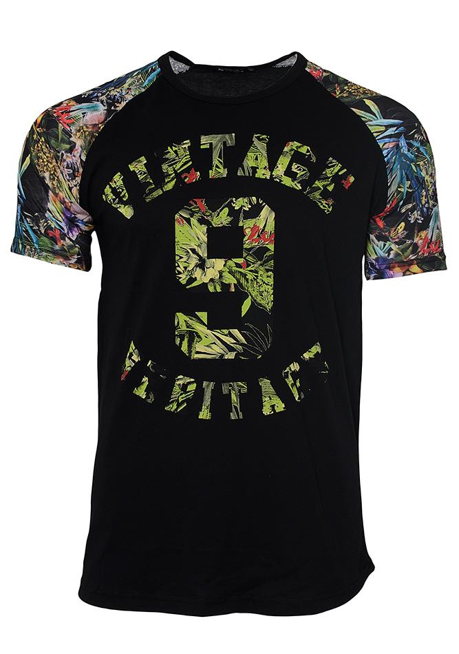 Ανδρικό T-shirt Vintage Flower-Μαύρο αρχική ανδρικά ρούχα επιλογή ανά προϊόν t shirts