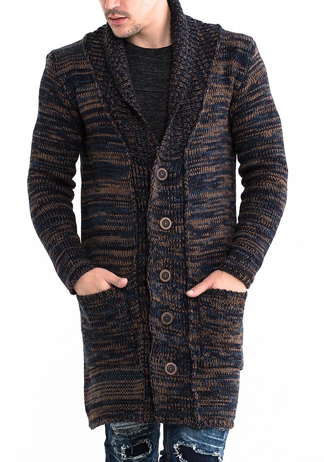Πλεκτή Ζακέτα Unique Brown αρχική ανδρικά ρούχα ζακέτες