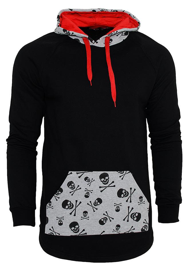 Ανδρικό Φούτερ Skull Hood Black αρχική ανδρικά ρούχα φούτερ