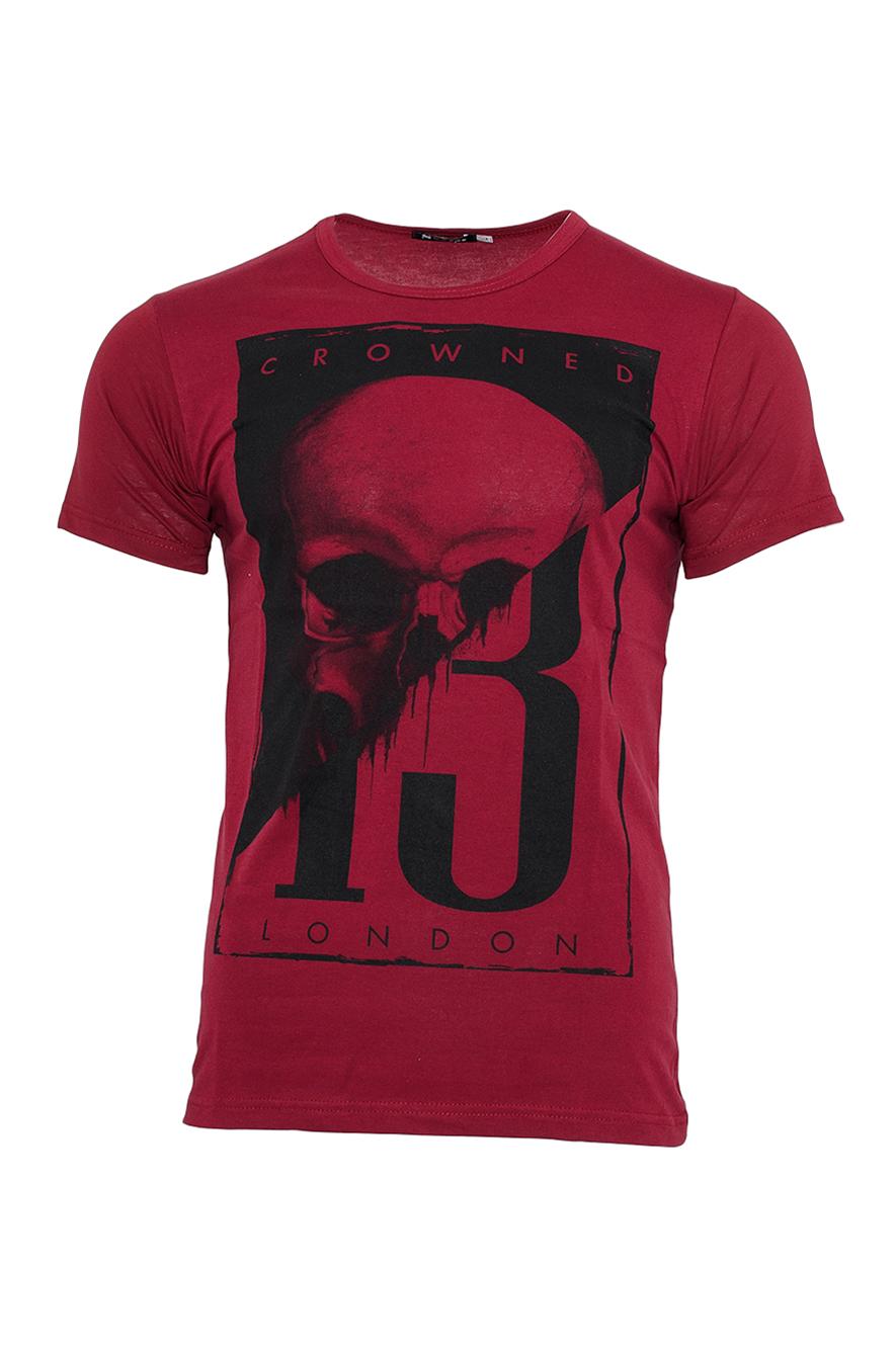Ανδρικό T-shirt Skull 13-Μπορντό αρχική ανδρικά ρούχα επιλογή ανά προϊόν t shirts