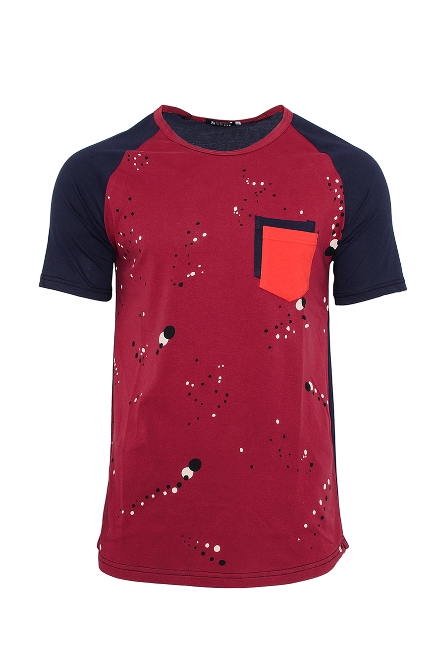 Ανδρικό T-shirt Splash Double Pocket-Μπορντό