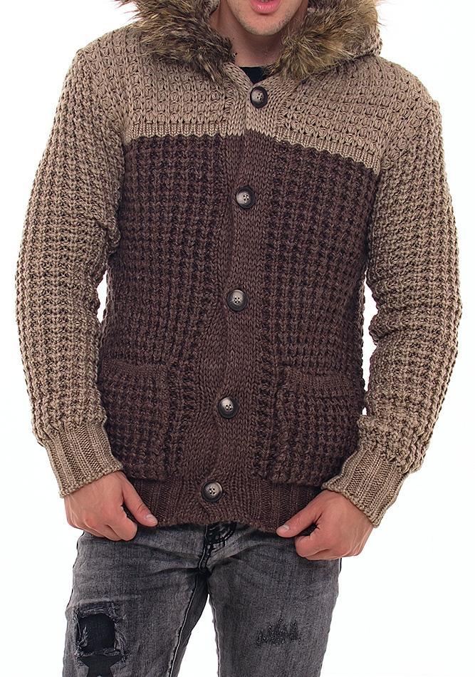 Πλεκτή Ζακέτα Double Brown αρχική ανδρικά ρούχα επιλογή ανά προϊόν ζακέτες