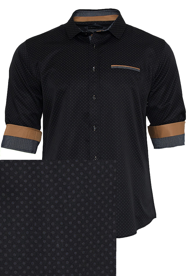 Ανδρικό Πουκάμισο Black Spots αρχική ανδρικά ρούχα πουκάμισα