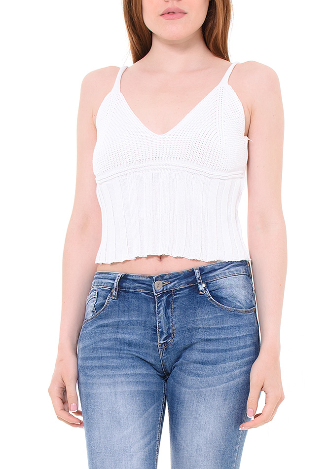 Top Knitting White αρχική γυναικεία ρούχα μπλούζες   tops