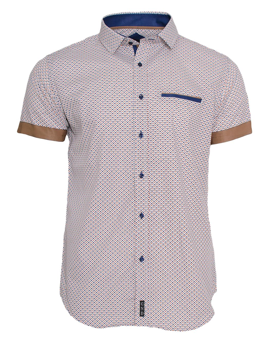 Κοντομάνικο Πουκάμισο CND Blue Brown-Καφέ Ανοικτό αρχική ανδρικά ρούχα πουκάμισα