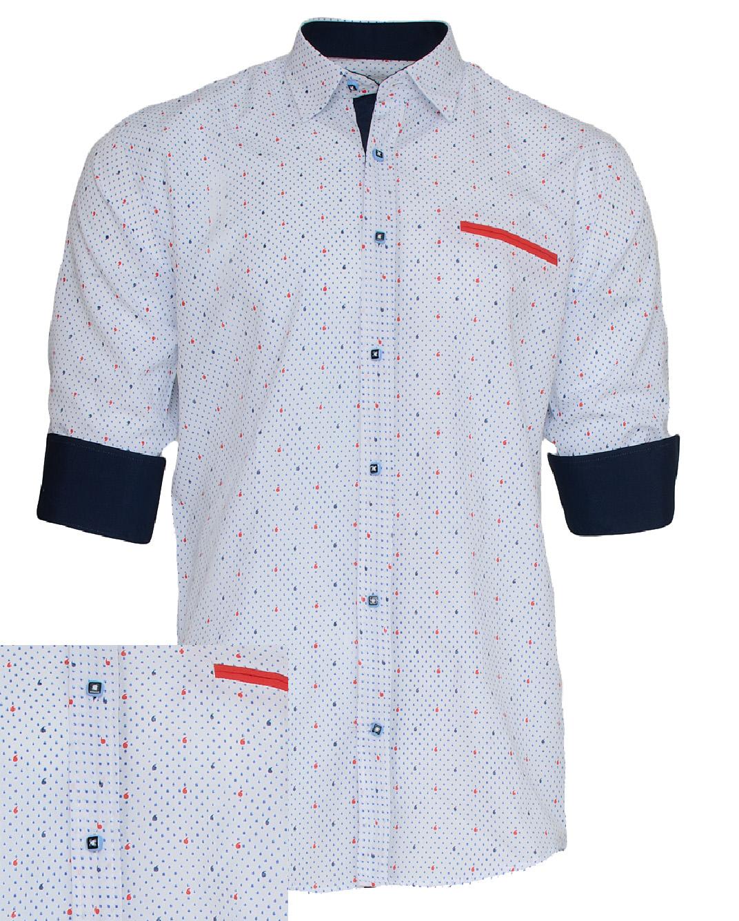 Ανδρικό Πουκάμισο So Fashion Red Line-Άσπρο αρχική ανδρικά ρούχα πουκάμισα