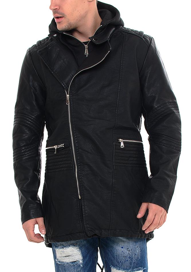 Ανδρικό Μπουφάν Parka Leather Hood αρχική ανδρικά ρούχα μπουφάν
