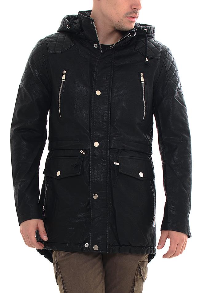 Ανδρικό Μπουφάν Parka Leather Black αρχική άντρας πανωφόρια μπουφάν μπουφάν