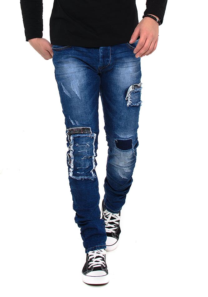 Ανδρικό jean Παντελόνι X-Three Grey Patch αρχική ανδρικά ρούχα επιλογή ανά προϊόν παντελόνια παντελόνια jeans