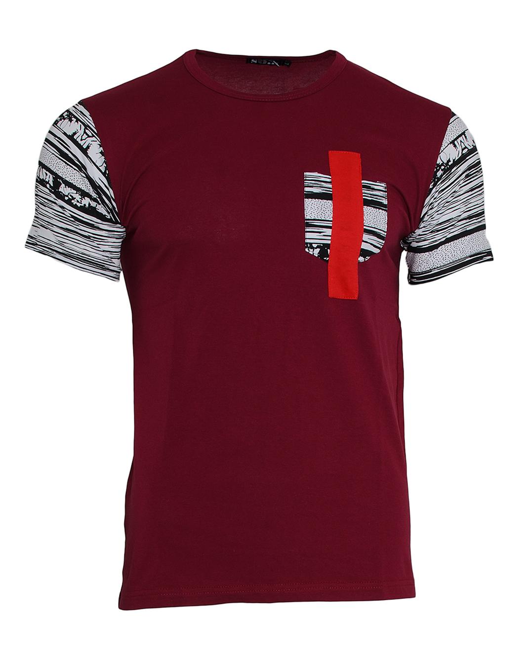 Ανδρικό T-shirt Pocket Line Red-Μπορντό αρχική ανδρικά ρούχα επιλογή ανά προϊόν t shirts