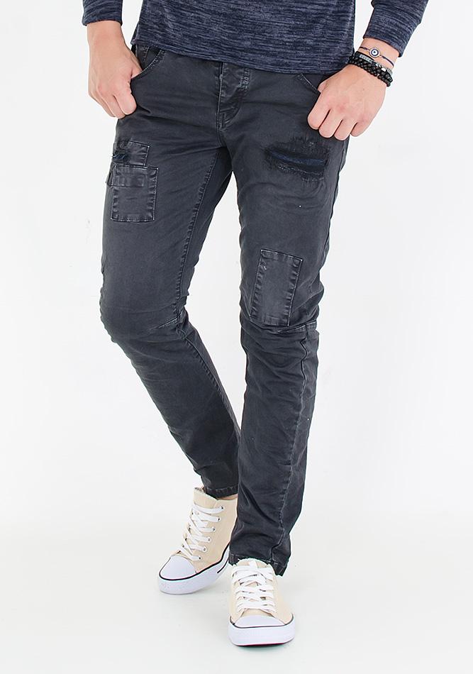 Ανδρικό Chino Double Patch Black αρχική ανδρικά ρούχα επιλογή ανά προϊόν παντελόνια παντελόνια chinos
