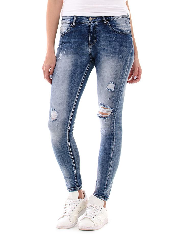 Γυναικείο Jean Scratch Blue αρχική γυναικεία ρούχα παντελόνια