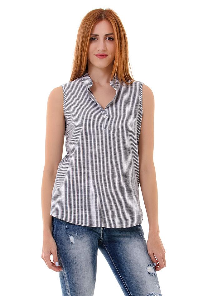 Μπλούζα Button Blue αρχική γυναικεία ρούχα μπλούζες   tops