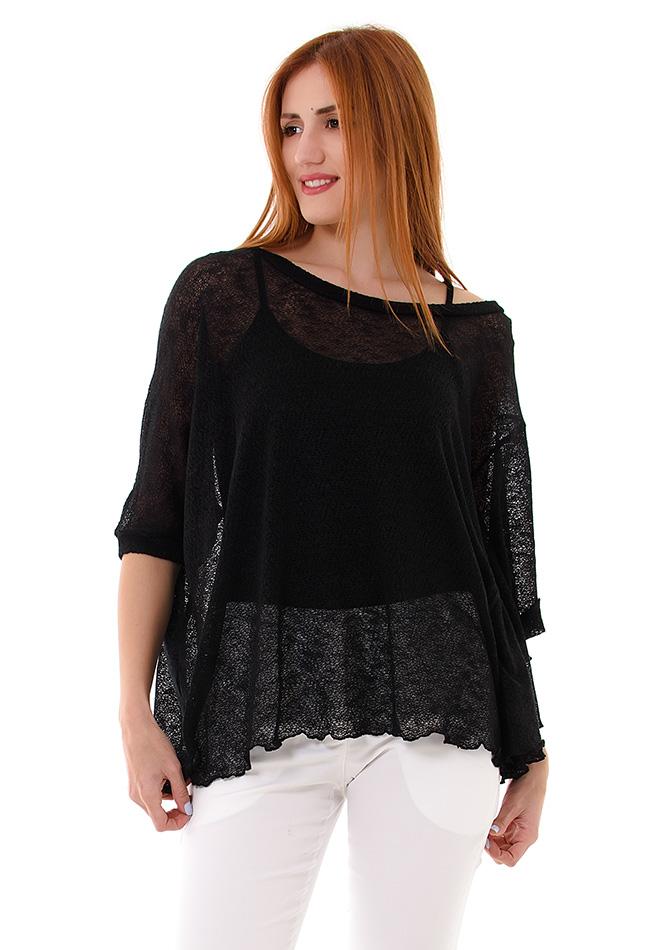 Πλεκτή Μπλούζα Day Black αρχική γυναικεία ρούχα μπλούζες   tops