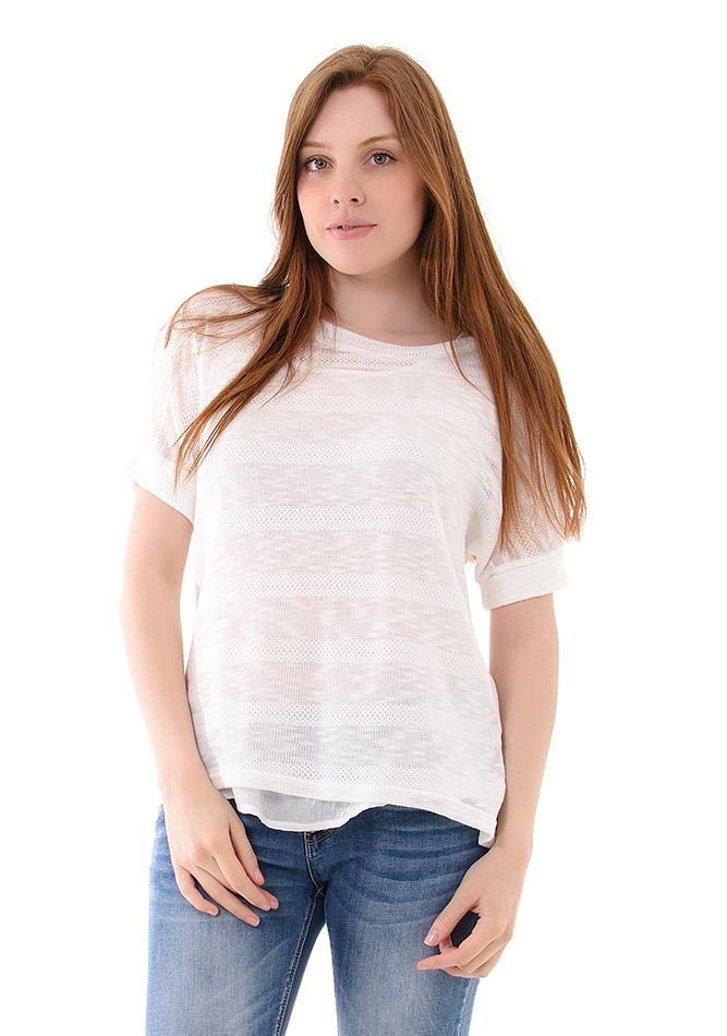Πλεκτή Μπλούζα Double White αρχική γυναικεία ρούχα μπλούζες   tops