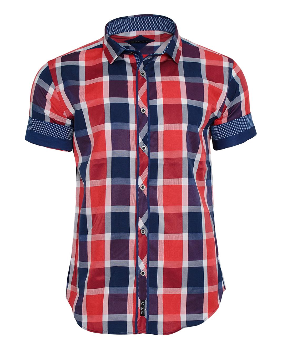 Κοντομάνικο Πουκάμισο Red Καρώ-Κόκκινο αρχική ανδρικά ρούχα πουκάμισα