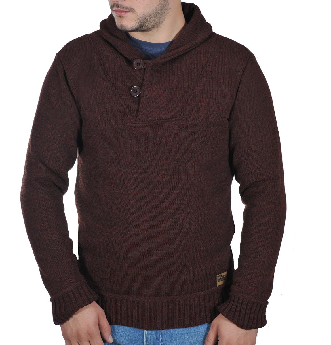 Ανδρικό Πλεκτό Ηigh Neck-Καφέ αρχική ανδρικά ρούχα πλεκτά