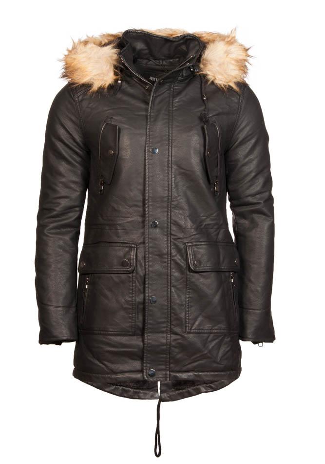 Ανδρικό Μπουφάν Parka Leather Pockets αρχική ανδρικά ρούχα μπουφάν