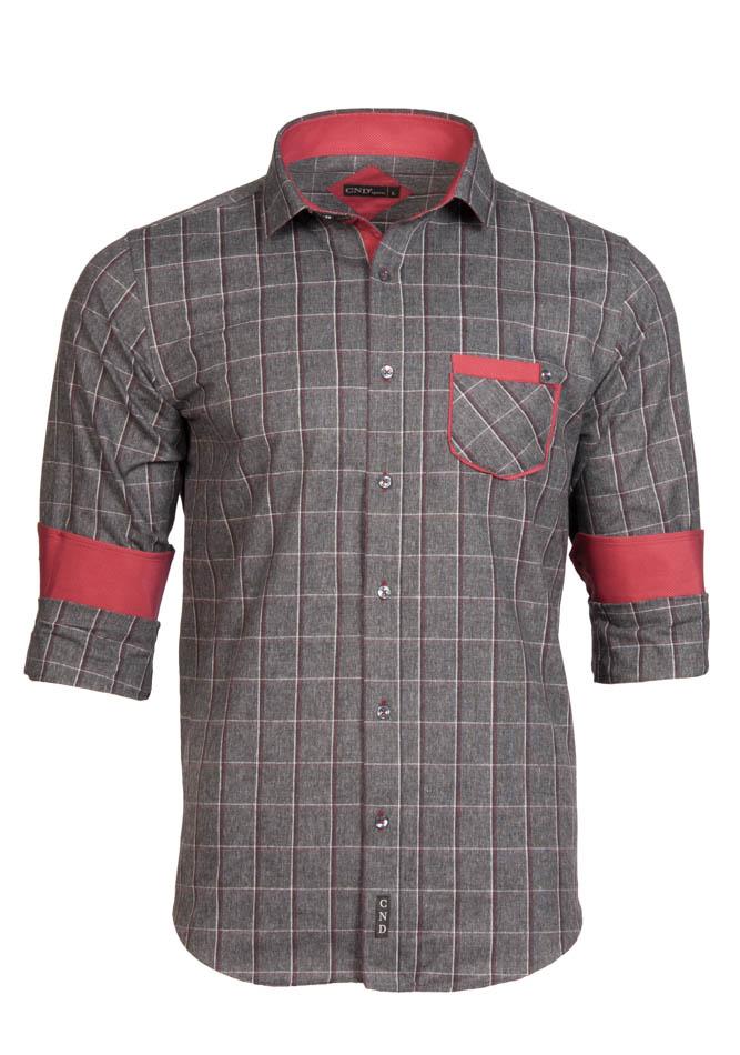 Ανδρικό Πουκάμισο CND Grey Καρώ αρχική ανδρικά ρούχα επιλογή ανά προϊόν πουκάμισα