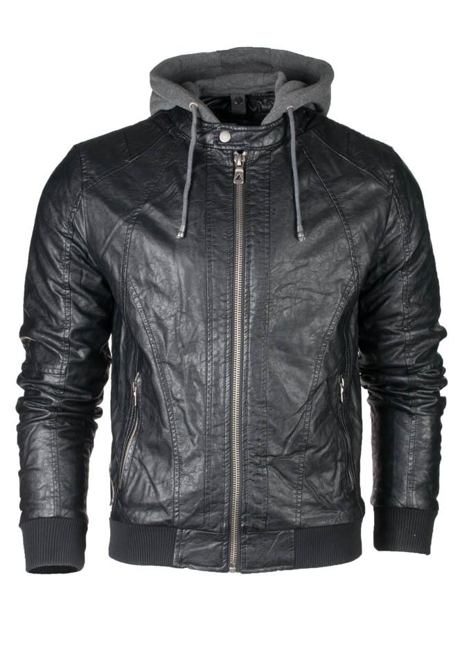 Μπουφάν Δερματίνη Grey Hood αρχική ανδρικά ρούχα μπουφάν