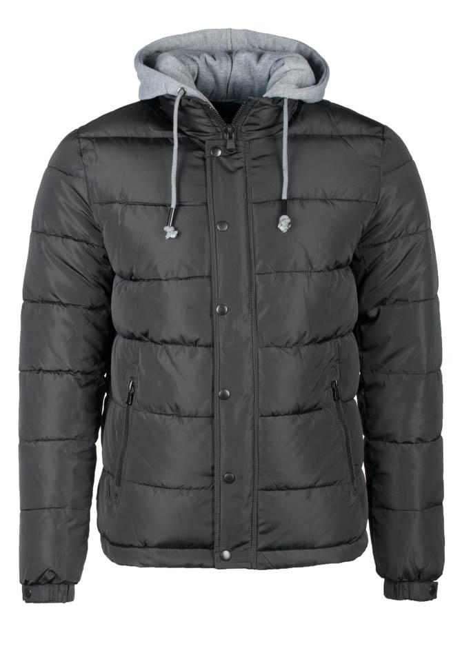 Ανδρικό Μπουφάν Enos Black Grey Hood αρχική ανδρικά ρούχα μπουφάν