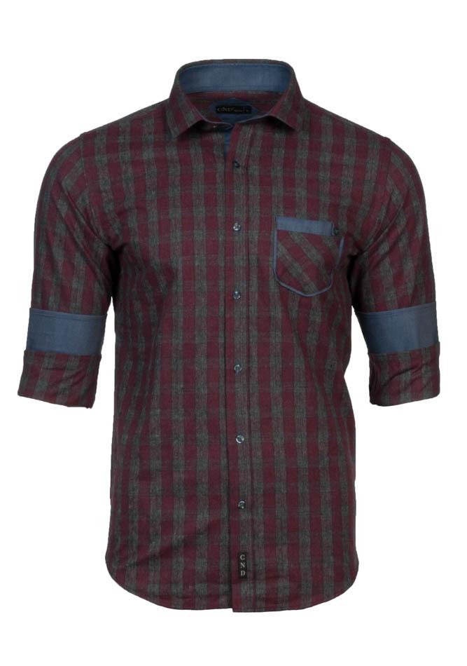Ανδρικό Πουκάμισο CND Bordeaux Καρώ αρχική ανδρικά ρούχα επιλογή ανά προϊόν πουκάμισα