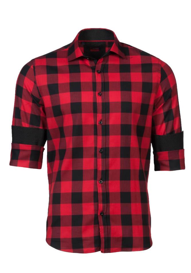 Ανδρικό Πουκάμισο Brand's Red Καρώ αρχική ανδρικά ρούχα πουκάμισα