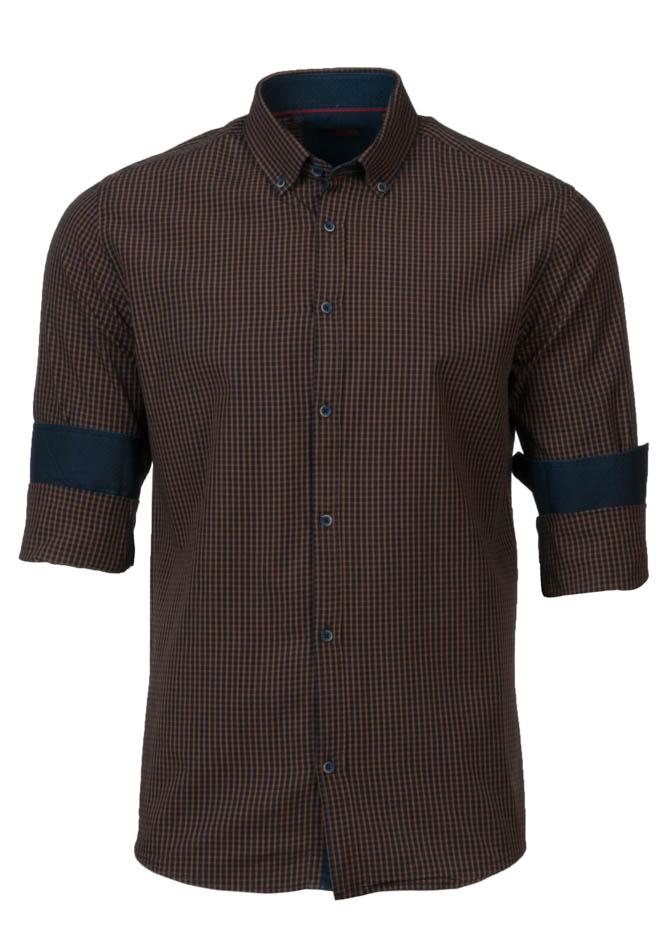 Ανδρικό Πουκάμισο Brand's Brown Καρώ αρχική ανδρικά ρούχα πουκάμισα