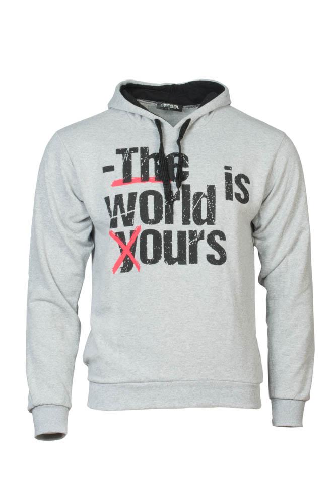 Ανδρικό Φούτερ The World Grey αρχική ανδρικά ρούχα φούτερ