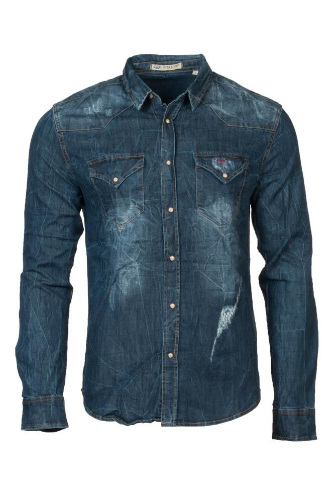 Ανδρικό Jean Πουκάμισο Patch Καρό αρχική ανδρικά ρούχα πουκάμισα